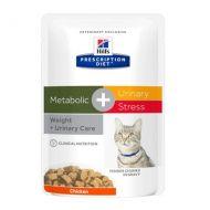 Hill's Prescription Diet Metabolic + Urinary Stress Gatto 12 bustine da 85 Gr. - Confezione Risparmio