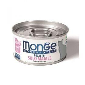 Monge gatto monoproteico Pezzetti solo Maiale da 80 gr in lattina