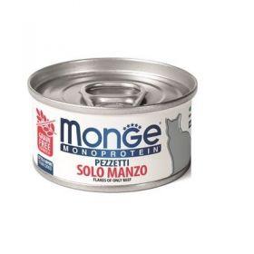 Monge gatto monoproteico Pezzetti solo Manzo da 80 gr in lattina