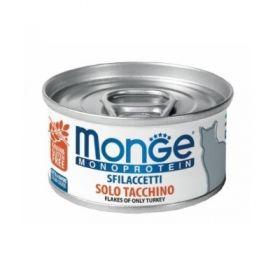 Monge gatto monoproteico sfilaccetti solo Tacchino da 80 gr in lattina