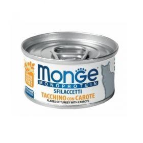 Monge gatto monoproteico sfilaccetti Tacchino con Carote da 80 gr in lattina