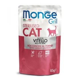 Monge Grill Cat Sterilised Vitello Buste per Gatto da 85 gr.