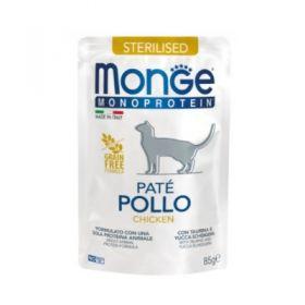 Monge Monoprotein Cat Adult Patè Sterilised al Pollo Buste per Gatto da 85 gr.