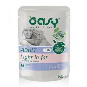 Oasy Gatto Bocconcini in Salsa Adult Light in Fat 85 Gr,