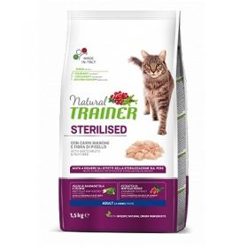 Trainer Natural Adult Gatto Sterilised Carni Bianche Fresche 1,5 Kg