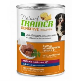 Trainer Natural Cane Adult sensitive no gluten cane medium e maxi agnello e cereali integrali 400 Gr.