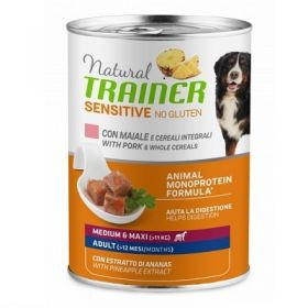 Trainer Natural Cane Adult sensitive no gluten cane medium e maxi Maiale e cereali integrali 400 Gr.