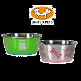 United Pets Petzpoint Ciotola in Acciaio Grande con anello in Gomma - Colori assortiti